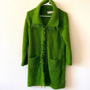 White stag shag green long sweater